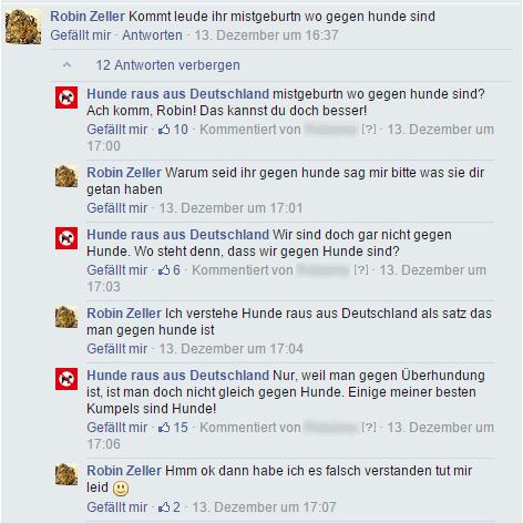 Unbeschreiblich geiler fratzenbuch-dialog.