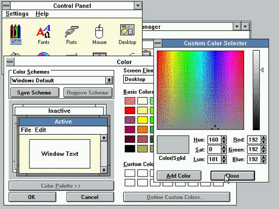 Bildschirmfoto der farbeinstellungen von windohs 3.11 aus dem jahr 1993