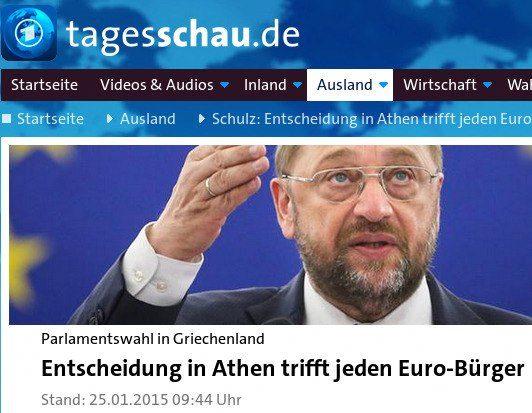 Schlagzeile von tagesschau.de: Parlamentswahl in Griechenland: Entscheidung in Athen trifft jeden Euro-Bürger