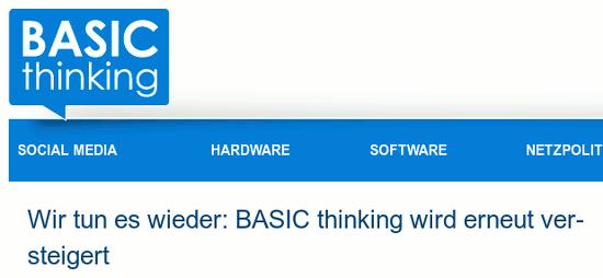 Überschrift im blog 'basic thinking': 'Wir tun es wieder: BASIC thinking wird erneut versteigert'
