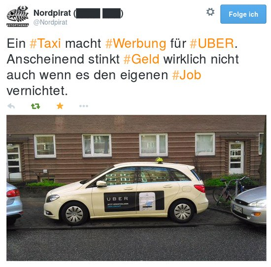 Tweet von @Nordpirat: Ein #Taxi macht #Werbung für #UBER. Anscheined stinkt #Geld wirklich nicht auch wenn es den eigenen #Job vernichtet.