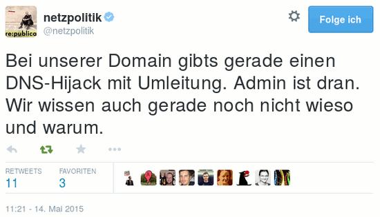 Bei unserer Domain gibts gerade einen DNS-Hijack mit Umleitung. Admin ist dran. Wir wissen auch gerade noch nicht wieso und warum.