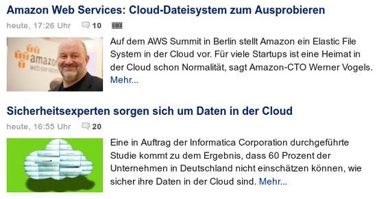 Amazon Web Services: Cloud-Dateisystem zum Ausprobieren: Auf dem AWS Summit in Berlin stellt Amazon ein Elastic File System in der Cloud vor. Für viele Startups ist eine Heimt in der Cloud schon Normalität... -- Sicherheitsexperten sorgen sich um Daten in der Cloud: Eine im Auftrag der Informatica Corporation durchgeführte Studie kommt zu dem Ergebnis, dass 60 Prozent der Unternehmen in Deutschland nicht einschätzen können, wie sicher ihre Daten in der Cloud sind...