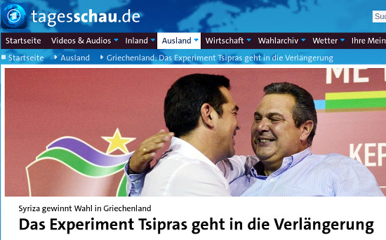 Bildschirmfoto einer überschrift eines artikels auf tagesschau.de -- 'Syriza gewinnt Wahl in Griechenland. Das Experiment Tsipras geht in die Verlängerung'.