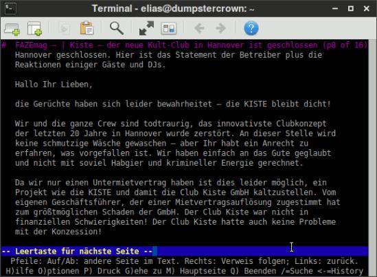 Bildschirmfoto der drexseit, die mit lynx im terminal dargestellt wird
