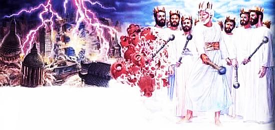 Eine typische illustrazjon zum ende der welt aus der literatur der zeugen jehovas