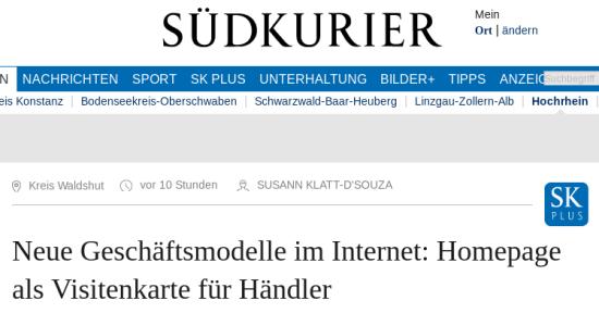 Schlagzeile Südkurier -- Neue Geschäftsmodelle im Internet: Homepage als Visitenkarte für Händler