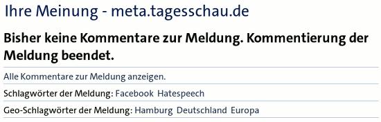 Ihre Meinung - meta.tagesschau.de -- Bisher keine Kommentare zur Meldung. Kommentierung der Meldung beendet.