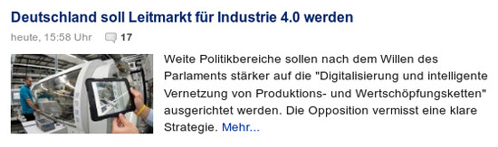 Deutschland soll Leitmarkt für Industrie 4.0 werden