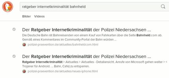 Bildschirmfoto des suchergebnisses in duckduckgo, wobei der im kontext völlig bedeutungslose text aus dem 'title'-tägg angezeigt wird