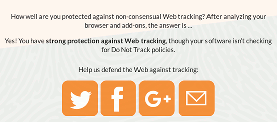Screenshot von Panopticlick mit dem Text 'Help us defend the Web against tracking' nebst einem Button für Twitter, einem Button für Facebook und einem Button für Google Plus