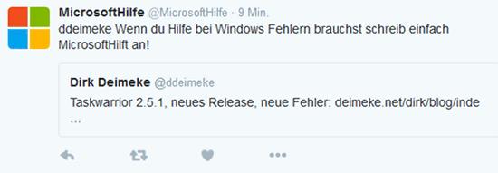 Tweet mit dem Text 'Taskwarrior 2.5.1, neues Release, neue Fehler', Antwort von MicrosoftHilfe 'Wenn du Hilfe bei Windows Fehlern brauchst schreib einfach MicrosoftHilft an!