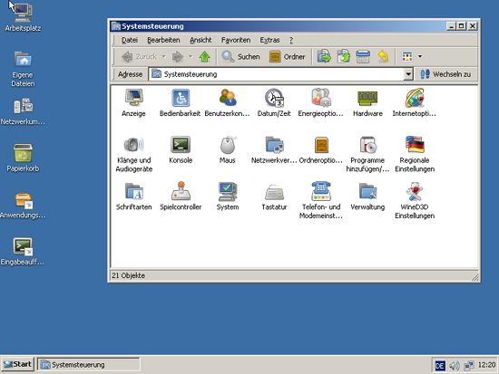Bildschirmfoto der grafischen oberfläche