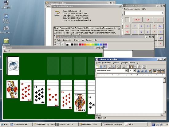 Bildschirmfoto der grafischen oberfläche mit vielen mitgelieferten programmen