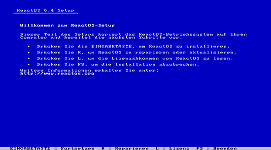 Screenshot der Installation