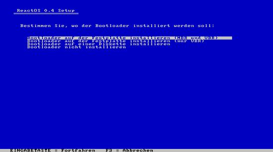 Bildschirmfoto der installazjon