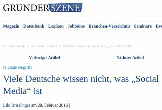 Schlagzeile 'Gründerszene' -- Digitale Begriffe: Viele Deutsche wissen nicht, was 'Social Media' ist.