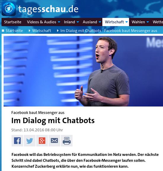 Bildschirmfoto tagesschau.de -- Facebook baut Messanger aus: Im Dialog mit Chatbots