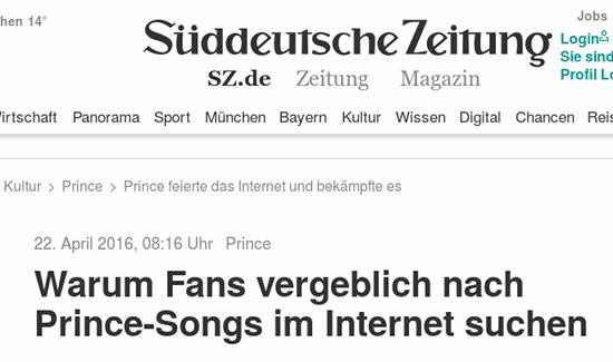 Bildschirmfoto SZ -- 22. April 2016, 08:16 Uhr -- Prince -- Warum Fans vergeblich nach Prince-Songs im Internet suchen