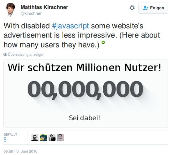 With disabled #javascript some website's advertisement is less impressive. (Here about how many users they have.)