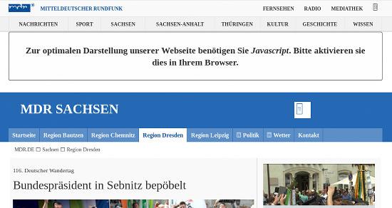Webseit des MDR mit dem hinweis: 'Zur optimalen Darstellung unserer Website benötigen Sie Javascript. Bitte aktivieren sie dies in Ihrem Browser'.