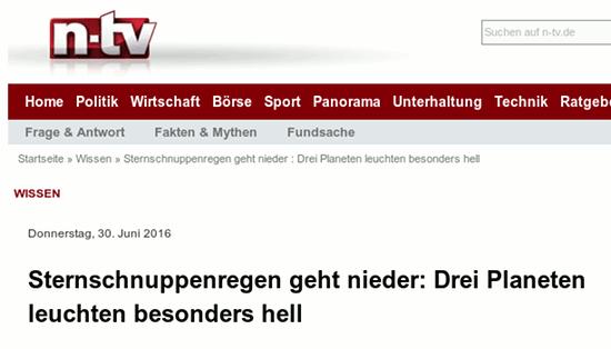Überschrift n-tv, Ressort 'Wissen': 'Sternschnuppenregen geht nieder: Drei Planeten leuchten besonders hell'.