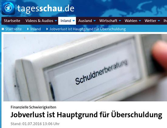 Überschrift auf der webseit der Tagesschau: 'Finanzielle Schwierigkeiten -- Jobverlust ist Hauptgrund für Überschuldung