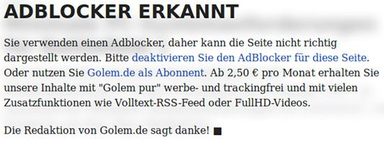 ADBLOCKER ERKANNT -- Sie verwenden einen Adblocker, daher kann die Seite nicht richtig dargestellt werden. Bitte deaktivieren sie den AdBlocker für diese Seite. Oder nutzen Sie Golem.de als Abonnent. Ab 2,50 € pro Monat erhalten Sie unsere Inhalte mit 'Golem pur' werbe- und trackingfrei und mit vielen Zusatzfunktionen wie Volltext-RSS-Feed oder FullHD-Videos. -- Die Redaktion von Golem.de sagt danke!