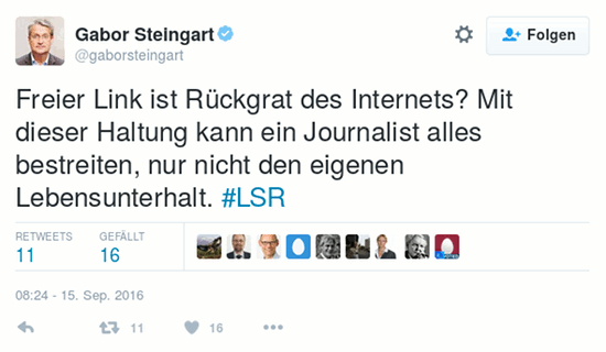 Fiepser von Gabor Steingart @gaborsteingart, verifiziertes zwitscherchen-konto, vom 15. september 2016, 8:24 uhr: 'Freier Link ist Rückgrat des Internets? Mit dieser Haltung kann ein Journalist alles bestreiten, nur nicht den eigenen Lebensunterhalt. #LSR'.