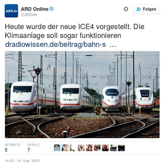 Tweet von @ARDde vom 14. september 2016, 14:42 uhr: Heute wurde der neue ICE4 vorgestellt. Die Klimaanlage soll sogar funktionieren.