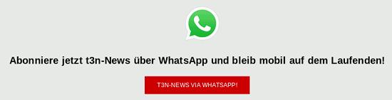 Bildschirmfoto -- 'Abonniere jetzt t3n-News über WhatsApp und bleib mobil auf dem Laufenden!' -- T3N-NEWS VIA WHATSAPP!