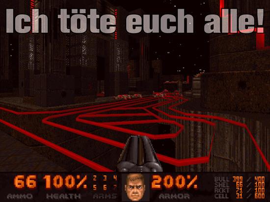 Screenshot aus DooM mit überlagerten Text 'Ich töte euch alle!'