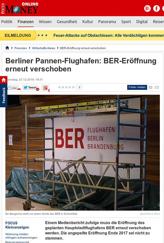Berliner Pannen-Flughafen: BER-Eröffnung erneut verschoben -- Einem Medienbericht zufolge muss die Eröffnung des geplanten Hauptstadtflughafens BER erneut verschoben werden. Die angepeilte Eröffnung Ende 2017 sei nicht zu stemmen.