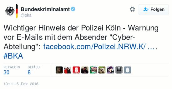 Wichtiger Hinweis der Polizei Köln - Warnung vor E-Mails mit dem Absender 'Cyber-Abteilung'