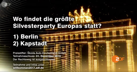 Wo findet die größte Silvesterparty Europas statt? 1) Berlin 2) Kapstadt