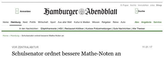 Hamburger Abendblatt -- Vor Zentralabitur: Schulsenator ordnet bessere Mathe-Noten an