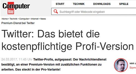 Computerbild -- Premium-Dienst bei Twitter -- Twitter: Das bietet die kostenpflichtige Profi-Version ++ Twitter-Profis, aufgepasst: Der Nachrichtendienst bestätigt, an einer Premium-Version mit zusätzlichen Funktionen zu arbeiten. Das steckt in der Pro-Variante!