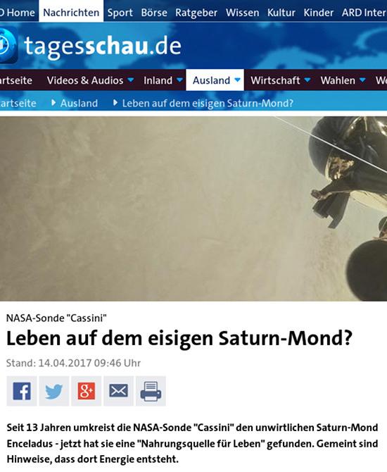 NASA-Sonde 'Cassini' Leben auf dem eisigen Saturn-Mond? -- Seit 13 Jahren umkreist die NASA-Sonde 'Cassini' den unwirtlichen Saturn-Mond Enceladus - jetzt hat sie eine 'Nahrungsquelle für Leben' gefunden. Gemeint sind Hinweise, dass dort Energie entsteht.
