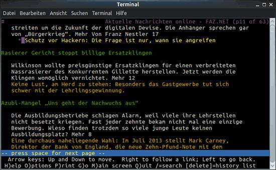 Bildschirmfoto der im textbrauser lynx (kein javascript möglich) dargestellten startseite der FAZ