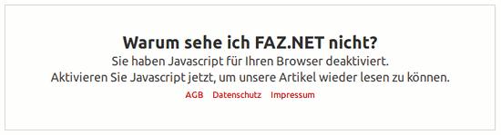 Warum sehe ich FAZ.NET nicht? -- Sie haben Javascript für Ihren Browser deaktiviert. -- Aktivieren Sie Javascript jetzt, um unsere Artikel wieder lesen zu können. AGB Datenschutz Impressum
