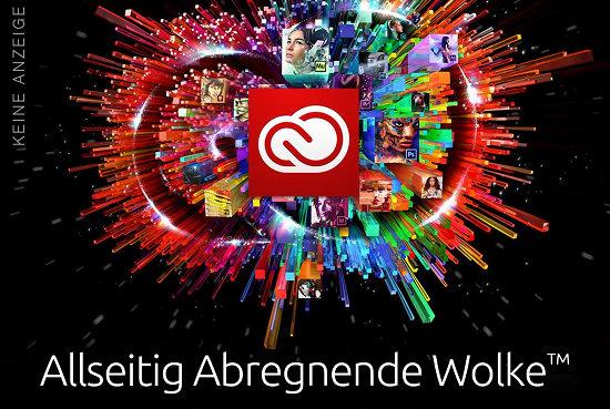 Das Logo von Adobe Creative Cloud mit dem Text 'Allseitig Abregnende Wolke'.