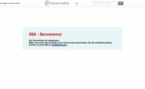 Screenshot heise onlein: 500 - Servererror