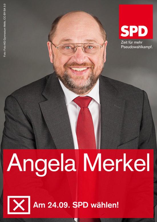 Bild im stil eines SPD-wahlplakates aus dem letzten bundestagswahlkampf. Unter dem foto von Martin Schulz steht der name Angela Merkel.