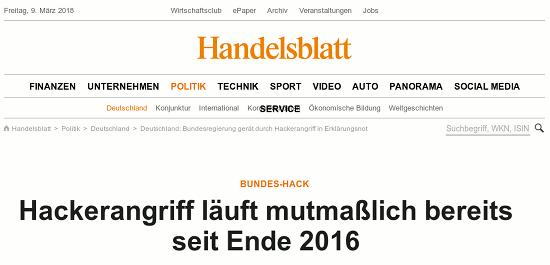 Screenshot Handelsblatt -- Bundes-Hack: Hackerangriff läuft mutmaßlich bereits seit Ende 2016