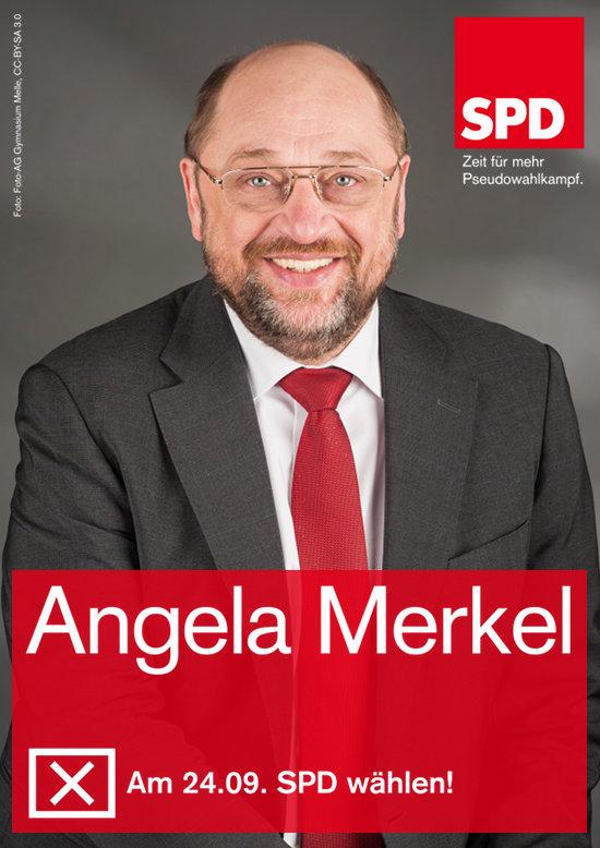 Wahlplakat-satire aus dem letzten bundestagswahlkampf -- Zu einem foto von Martin Schulz ist das SPD-logo mit dem motto 'zeit für mehr pseudowahlkampf' gesetzt. Darunter steht: 'Angela Merkel. Am 24.09. SPD wählen!'.