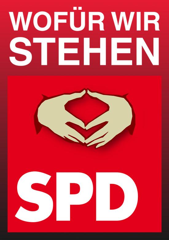 Wofür wir stehen... Ein SPD-Logo mit einer darin aufgenommenen Merkel-Raute