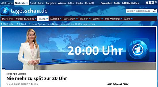 Bildschirmfoto von tagesschau.de -- Neue App-Version, Nie mehr zu spät zur 20 Uhr