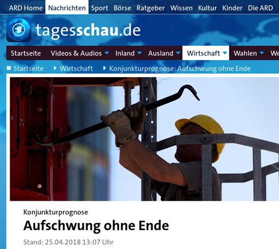 Bildschirmfoto einer schlagzeile von tagesschau.de -- 'Konjunkturprognose: Aufschwung ohne Ende'.