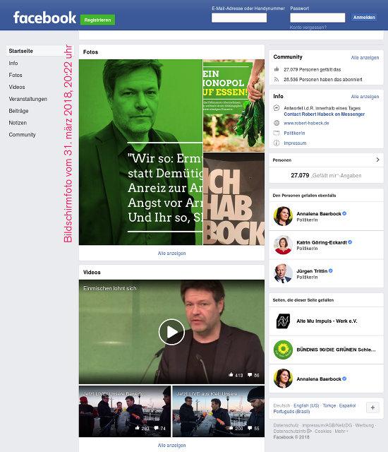 Bildschirmfoto des fratzenbuch-profiles von Robert Habeck von den scheißgrünen