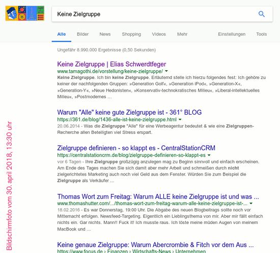 Bildschirmfoto des absurden guhgell-suchergebnisses